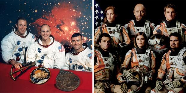 A tripulação original da Apollo 13 (Ken Mattingly, no meio, foi substituído por Jack Swigert) e da Ares 3